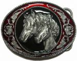 Mare and Foal Horses Belt Buckle + Display stand. Code ML7